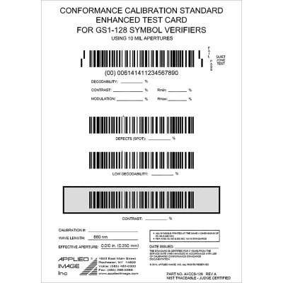 GS! 128 symbol verifier calibration test card barcode