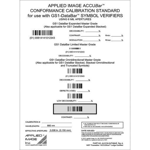 GS1 Databar barcode symbol verifier calibration test card