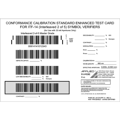 Conformance Calibrated Standard Enhanced Test Card for ITF-14 Symbol Verifiers