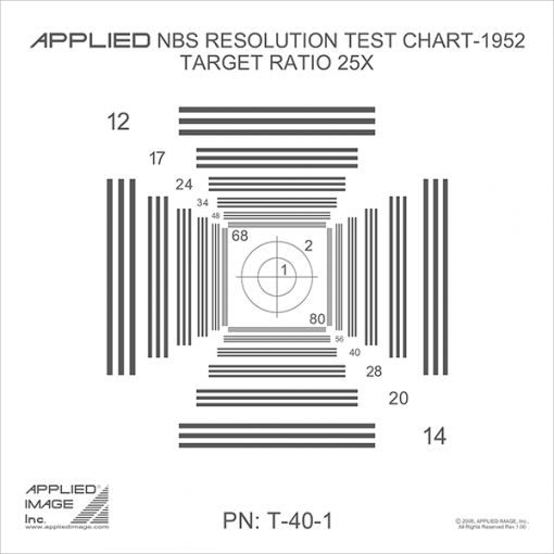 NBS resolution test chart 1952 chrome on glass