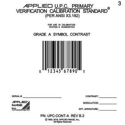 Grade A UPC barcode calibration card