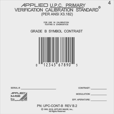 UPC B grade contrast calibration card