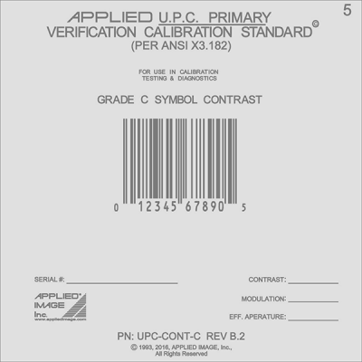 C grade contrast barcode calibration card