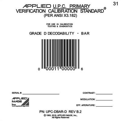 D grade decodability barcode verifier card