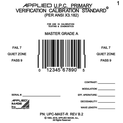 UPC master perfect calibration verifier barcode card