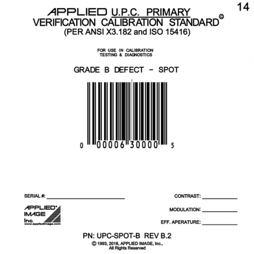 UPC B grade spot defect calibration card