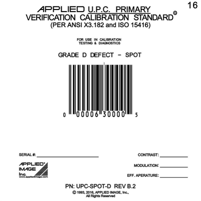 UPC spot defect D grade barcode calibration card
