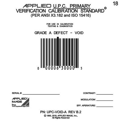 UPC Void A Grade Calibration Test Card
