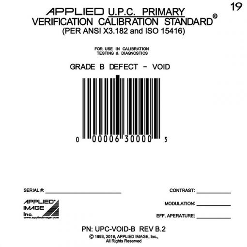 UPC B grade Void defect calibration test card