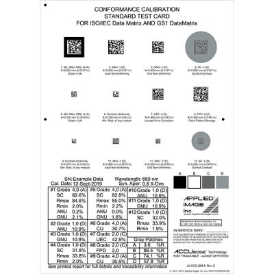 2D barcoder verifier test card for ISO/IEC and GS1 datamatrix